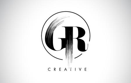GR Brush Stroke Letter Logo Design. Black Paint Logo Leters Icon with Elegant Circle Vector Design.