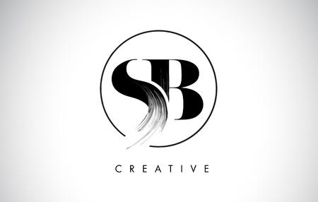 Ilustración de SB Brush Stroke Letter Logo Design. Black Paint Logo Leters Icon with Elegant Circle Vector Design. - Imagen libre de derechos