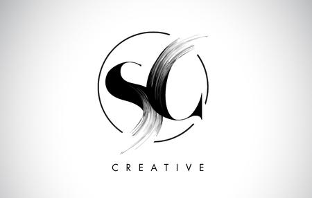 Illustration pour SC Brush Stroke Letter Logo Design. Black Paint Logo Leters Icon with Elegant Circle Vector Design. - image libre de droit