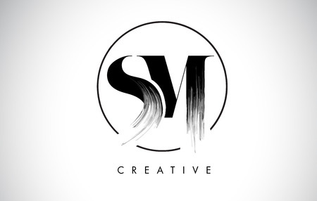 Ilustración de SM Brush Stroke Letter Logo Design. Black Paint Logo Leters Icon with Elegant Circle Vector Design. - Imagen libre de derechos