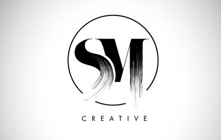 Ilustración de SM Brush Stroke Letter Logo Design. Black Paint Logo Leters Icon with Elegant Circle Vector Design. - Imagen libre de derechos