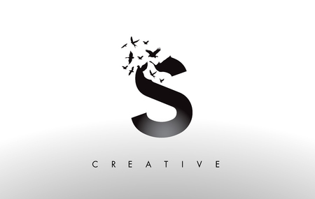 Illustration pour S Logo Letter with Flying Flock of Birds Disintegrating from the Letter. Bird Fly Letter Icon. - image libre de droit