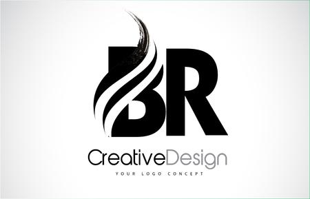 BR creative modern black letters logo design with brush swoosh