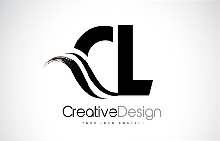 CL creative modern black letters logo design with brush swoosh