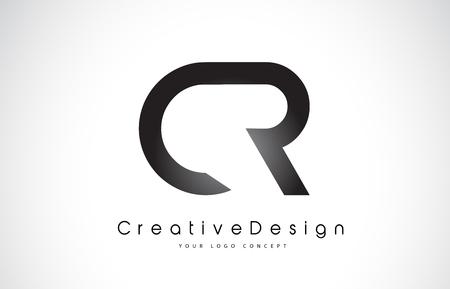 CR C R Letter Logo Design in Black Colors. Creative Modern Letters Vector Icon Logo Illustration.