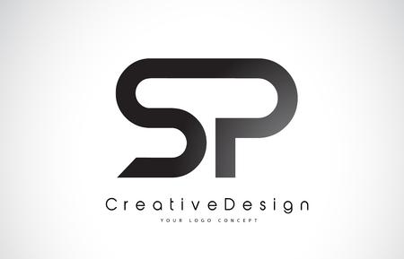 SP letter Logo Design in Black Colors vector illustration