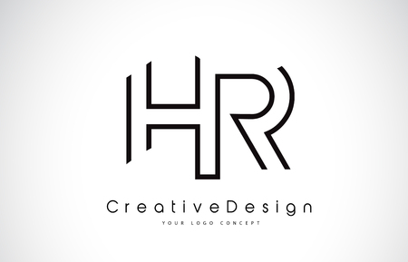 Ilustración de HR H R Letter. Design in Black Colors. Creative Modern Letters Vector Icon Logo illustration. - Imagen libre de derechos