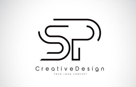 SP S P Letter. Design in Black Colors. Creative Modern Letters Vector Icon Logo illustration.