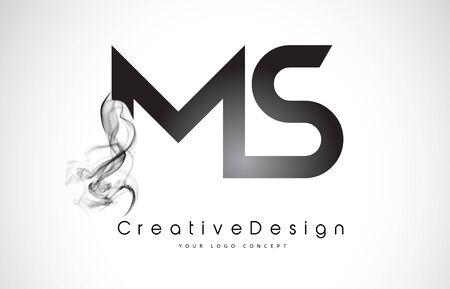 MS Letter Logo Design with Black Smoke. Creative Modern Smoke Letters Vector Icon Logo Illustration.