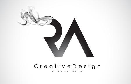 Illustration pour RA Letter Logo Design with Black Smoke. Creative Modern Smoke Letters Vector Icon Logo Illustration. - image libre de droit