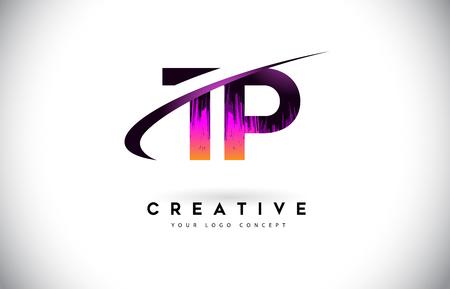 TP T P Grunge Letter Logo with Purple Vibrant Colors Design. Creative grunge vintage Letters Vector Logo Illustration.