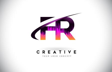 FR F R Grunge Letter Logo with Purple Vibrant Colors Design. Creative grunge vintage Letters Vector Logo Illustration.