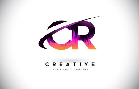 CR C R Grunge Letter Logo with Purple Vibrant Colors Design. Creative grunge vintage Letters Vector Logo Illustration.