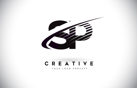 SP S P Letter Logo Design with Swoosh and Black Lines. Modern Creative zebra lines Letters Vector Logo