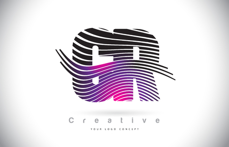 CR C R Zebra Texture Letter Logo Design With Creative Lines and Swosh in Purple Magenta Color Vector.
