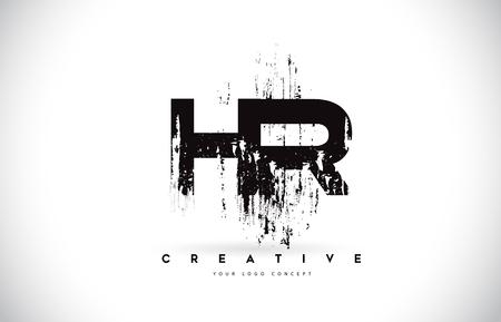 Illustration pour HR H R Grunge Brush Letter Logo Design in Black Colors. Creative Brush Letters Vector Illustration. - image libre de droit