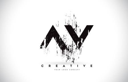 AV A V Grunge Brush Letter Logo Design in Black Colors. Creative Brush Letters Vector Illustration.