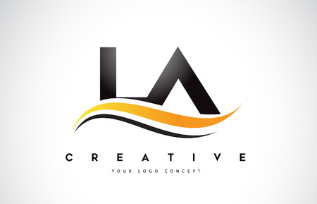 LA L A Swoosh Letter Logo Design with Modern Yellow Swoosh Curved Lines Vector Illustration.