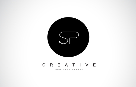 SP S P Logo Design with Black and White Creative Icon Text Letter Vector.