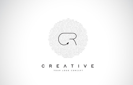 CR C R Logo Design with Black and White Creative Icon Text Letter Vector.