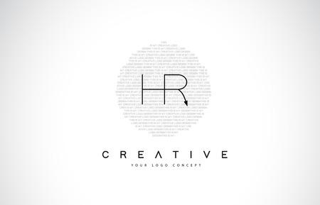 Illustration pour HR H R Logo Design with Black and White Creative Icon Text Letter Vector. - image libre de droit