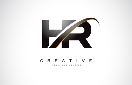 Illustration pour HR H R Swoosh Letter Logo Design with Modern Yellow Swoosh Curved Lines Vector Illustration. - image libre de droit
