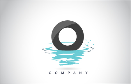 Ilustración de O Letter Logo Design with Water Splash Ripples Drops Reflection Vector Icon Illustration. - Imagen libre de derechos