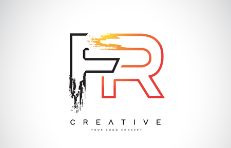 FR Creative Modern Logo Design Vetor with Orange and Black Colors. Monogram Stroke Letter Design.