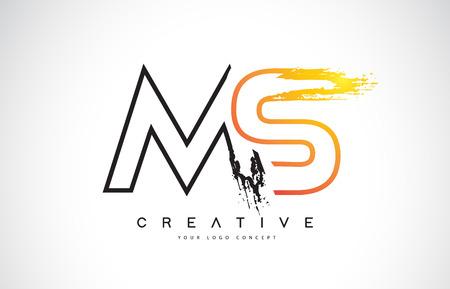 MS M S  Creative Modern Logo Design Vetor with Orange and Black Colors. Monogram Stroke Letter Design.