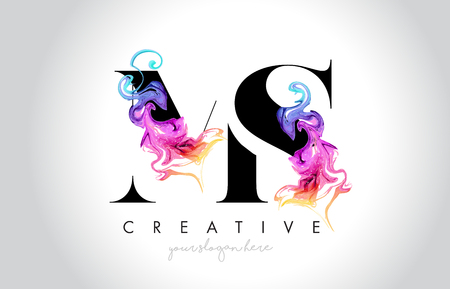 MS Vibrant Creative Leter Logo Design with Colorful Smoke Ink Flowing Vector Illustration.