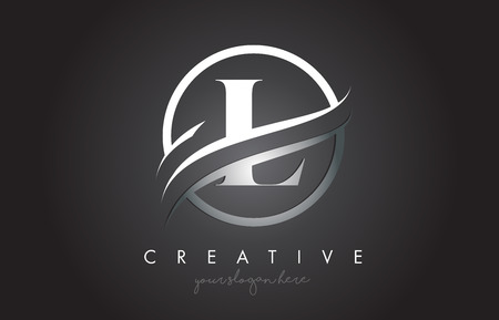 L Letter Icon Logo Design with Circle Steel Swoosh Border and Metal Texture. Creative L Design Vector Illustration.