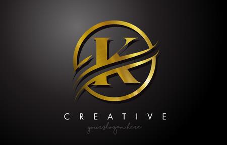 K Golden Letter Logo Design with Circle Swoosh and Gold Metal Texture. Creative Metal Gold  K Letter Design Vector Illustration.