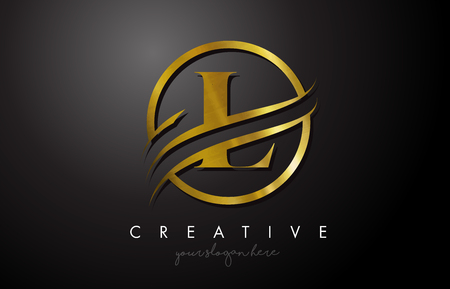 L Golden Letter Logo Design with Circle Swoosh and Gold Metal Texture. Creative Metal Gold  L Letter Design Vector Illustration.