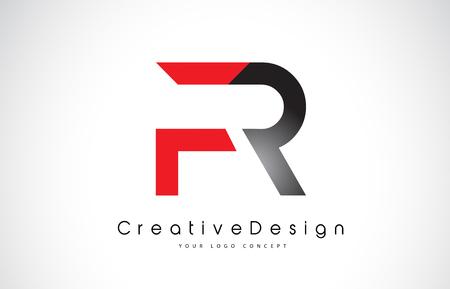 Red and Black FR F R Letter Logo Design in Black Colors. Creative Modern Letters Vector Icon Logo Illustration.
