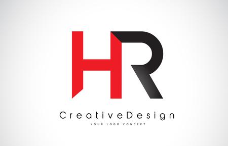Illustration pour Red and Black HR H R Letter Logo Design in Black Colors. Creative Modern Letters Vector Icon Logo Illustration. - image libre de droit