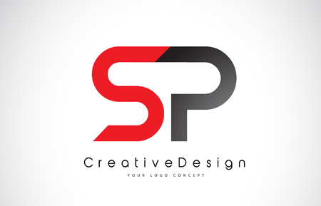Red and Black SP S P Letter Logo Design in Black Colors. Creative Modern Letters Vector Icon Logo Illustration.