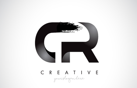 CR Letter Design with Brush Stroke and Modern 3D Look Vector Illustration.