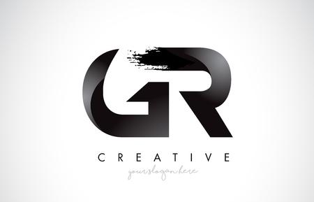 GR Letter Design with Brush Stroke and Modern 3D Look Vector Illustration.