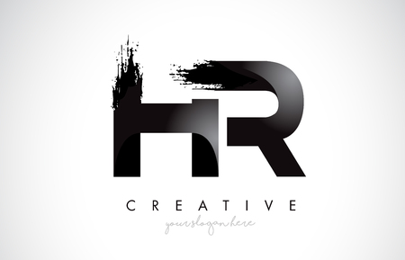 Illustration pour HR Letter Design with Brush Stroke and Modern 3D Look Vector Illustration. - image libre de droit