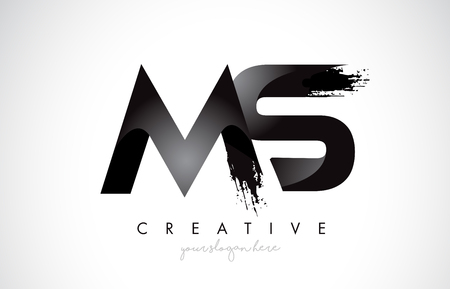 MS Letter Design with Brush Stroke and Modern 3D Look Vector Illustration.