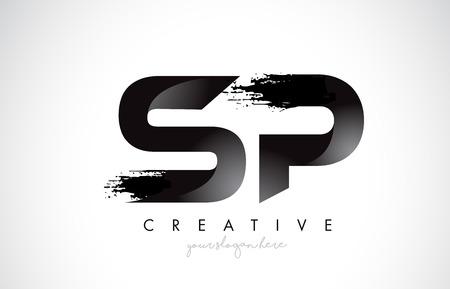 SP Letter Design with Brush Stroke and Modern 3D Look Vector Illustration.