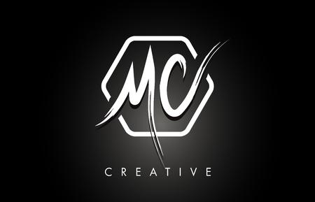 Ilustración de MC M C Brushed Vector Letter Logo Design with Creative Modern Brush Lettering Texture and Hexagonal Shape. Brush Letters Design Logo Vector Illustration. - Imagen libre de derechos