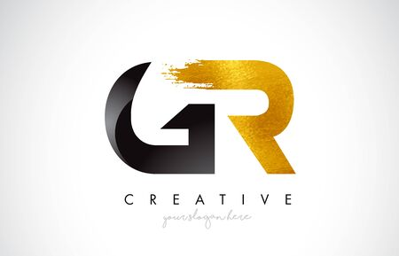 GR Letter Design with Brush Stroke and Modern 3D Look Vector Illustration.