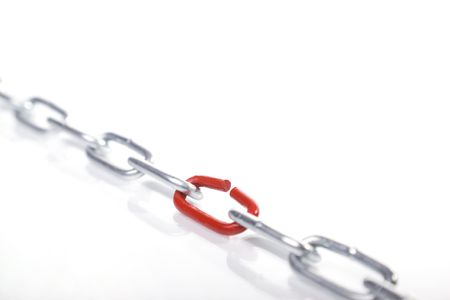 chain with broken link isolated on white background