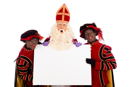 Sinterklaas and black pete  with placard. isolated on white background. Dutch character of Santa Claus