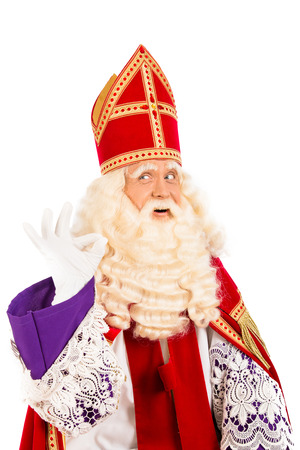 Sinterklaas with ok sign  isolated on white background  Dutch character of Santa Claus