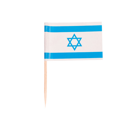 Toothpick Flag Israel. Paper Israelian flag . Isolated on white background