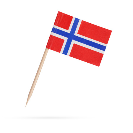 Miniature paper flag Norway. Norwegian flag Isolated on white background.With shadow below