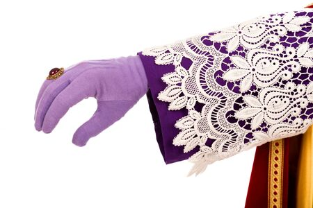 hand of sinterklaas reaching out to grab something. Dutch caracter of Sannta Claus