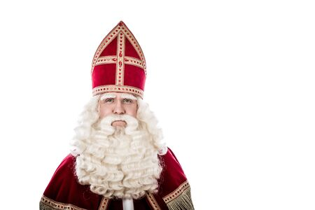 St. Nicholas portrait. Vintage look isolated on white background. Dutch character of St. Nicholas
